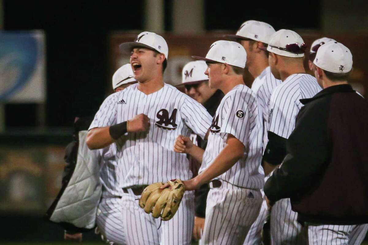The Magnolia Bulldogs celebrate winning the baseball game against Tomball Memorial on Friday, April 20, 2018, at Magnolia High School. (Michael Minasi / Houston Chronicle)