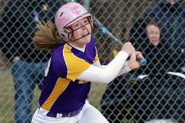 Troy catcher Maddie Rifenberick singles off Columbia pitcher Jess Patterson in Friday's game April 20, 2018 in East Greenbush, NY.  (John Carl D'Annibale/Times Union)