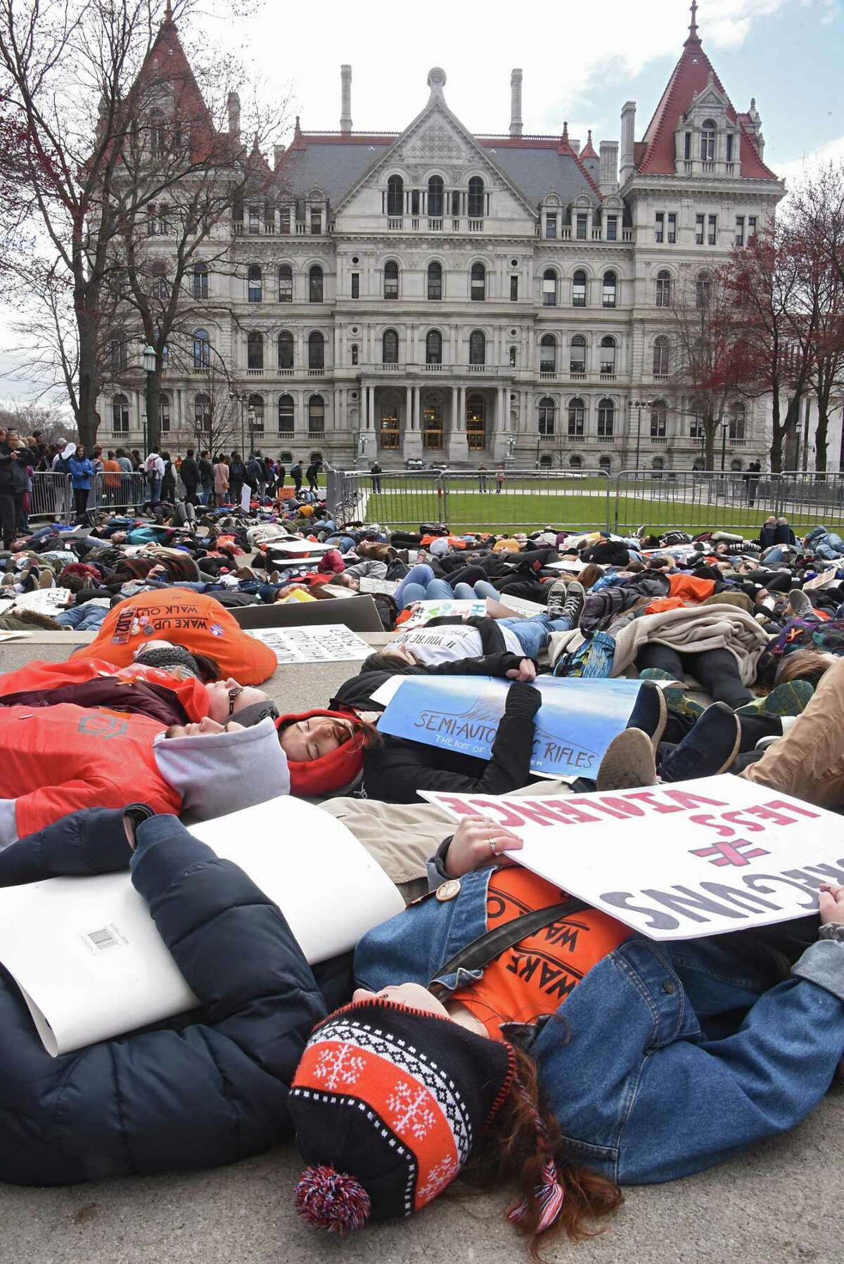 Capital Region high school students protest and rally at the State Capitol for action on stricter gun control measures on the anniversary of the 1999 Columbine High School massacre in Colorado on Friday, April 20, 2018 in Albany, N.Y. (Lori Van Buren/Times Union)