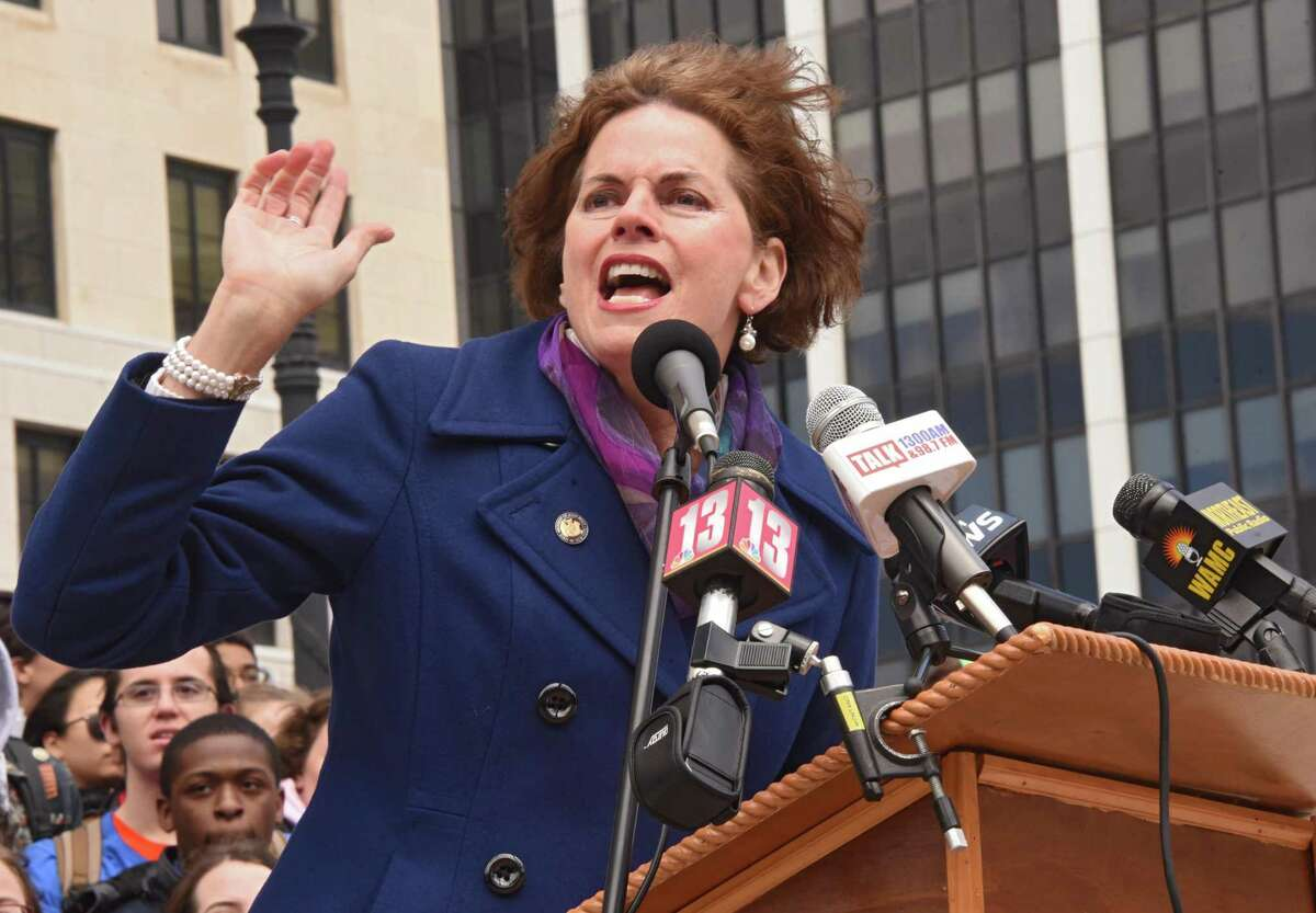 Assemblymember Patricia Fahy speaks as Capital Region high school students protest and rally at the State Capitol for action on stricter gun control measures on the anniversary of the 1999 Columbine High School massacre in Colorado on Friday, April 20, 2018 in Albany, N.Y. (Lori Van Buren/Times Union)