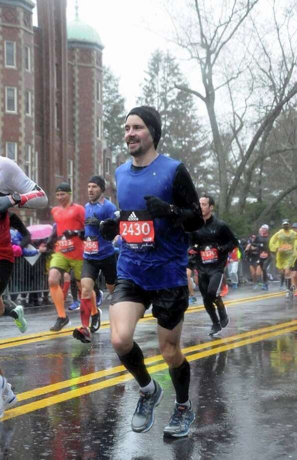 Garrett Jurges is seen near the start of the Boston Marathon. Finishing, though was a challenge. Photo: Courtesy Photo