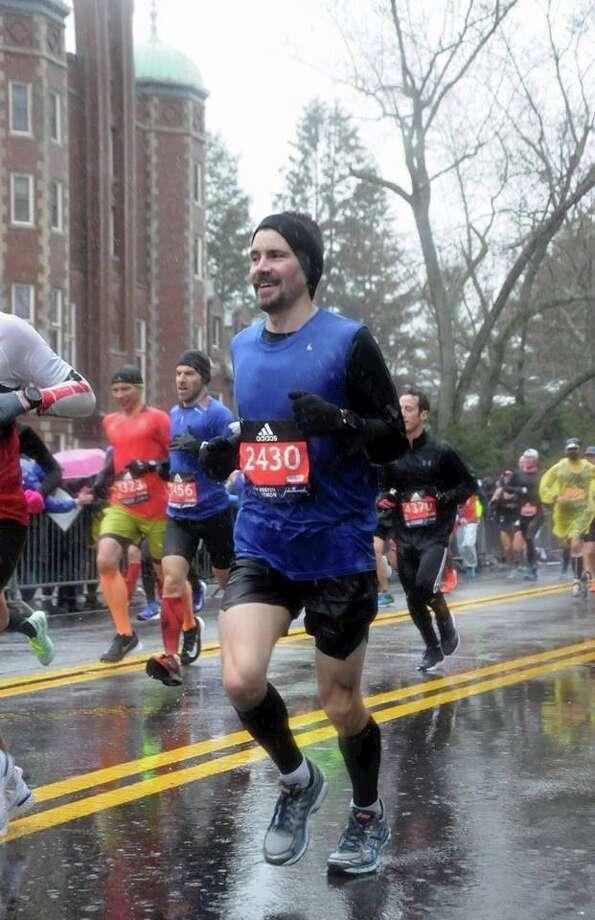Garrett Jurges is seen near the start of the Boston Marathon. Finishing, though was a challenge. Photo: Courtesy Photo