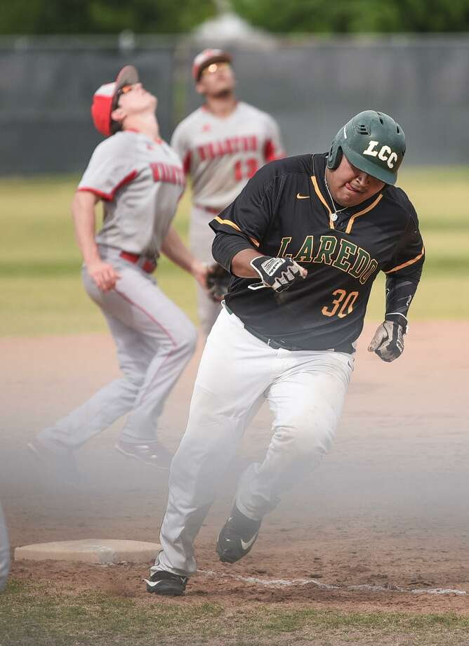 LCC lost a pair of games to open a four-game series at home with Wharton County Junior College Friday night falling 4-3 and 4-1. Palominos first baseman Mando Lopez was 2-for-3 with three RBIs, a double, a walk and a stolen base in Game 1. Photo: Danny Zaragoza /Laredo Morning Times