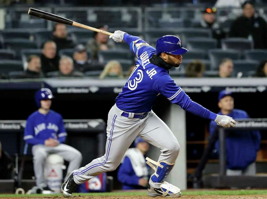 NEW YORK, NY - APRIL 20:  Lourdes Gurriel Jr. #13 of the Toronto Blue Jays gets his first major league hit with a 2 RBI single in the fourth inning against the New York Yankees at Yankee Stadium on April 20, 2018 in the Bronx borough of New York City.  (Photo by Elsa/Getty Images) Photo: Elsa / 2018 Getty Images
