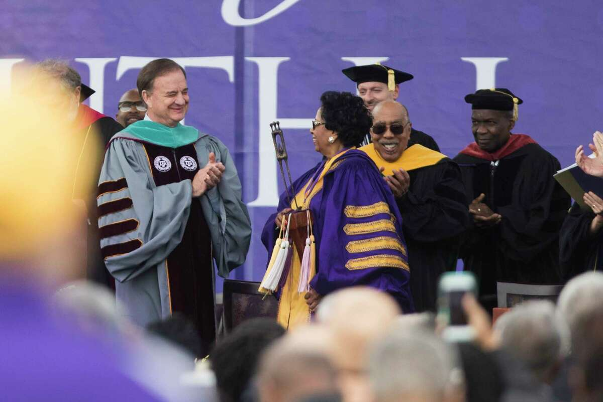 Texas A&M University System Chancellor John Sharp applauds newly inaugurated President Ruth J. Simmons, Friday, April 20, 2018, in Prairie View.