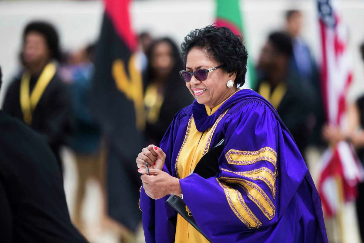 Dr. Ruth J. Simmons participates in the procession as part of her inauguration as President of Prairie View A&M University, Friday, April 20, 2018, in Prairie View.
