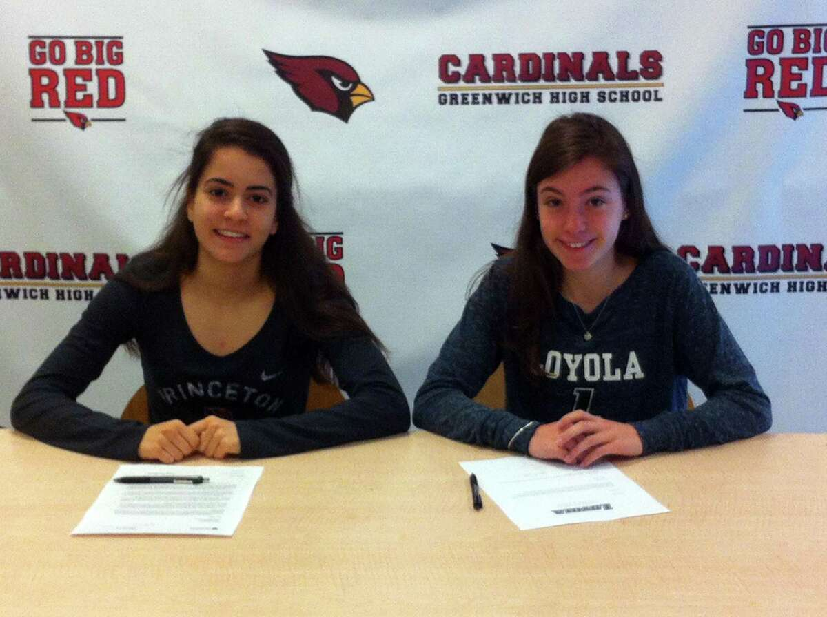 Greenwich High School seniors Emily Philippides, left, and Kate Ragone, will each continue their track and field careers in college. Philippides will compete at Princeton University and Ragone will join the track team at Loyola Maryland University. April 20, 2018