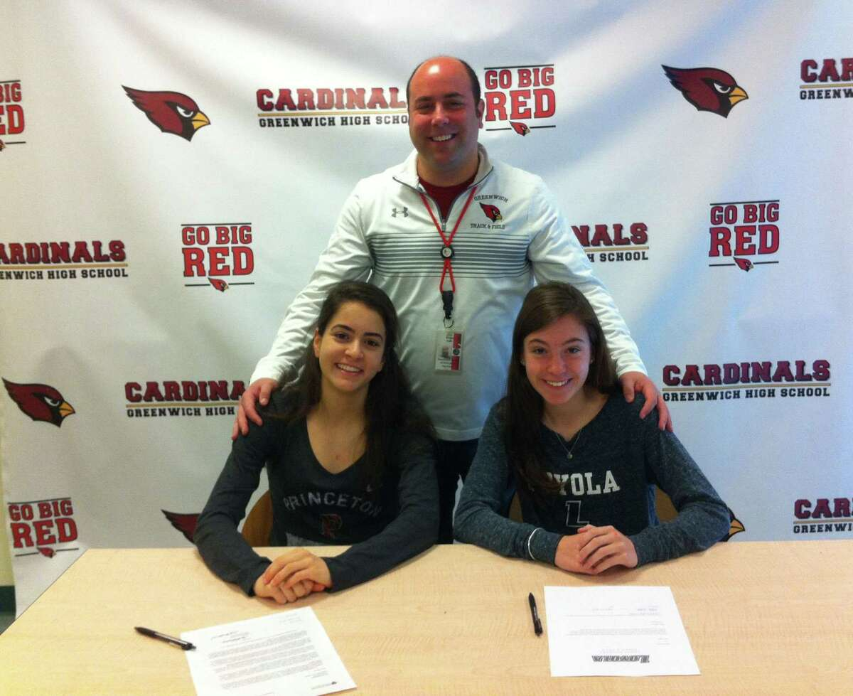 Greenwich seniors Emily Philippides, left, and Kate Ragone will each continue their track and field careers in college at Princeton and Loyola Maryland, respectively. Joining them at Friday's announcement ceremony was Greenwich coach Evan Dubin.