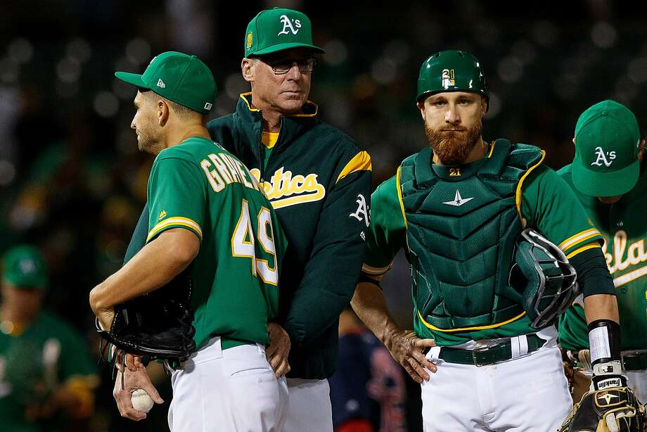 OAKLAND, CA - APRIL 20:  Kendall Graveman #49 of the Oakland Athletics is relieved by manager Bob Melvin #6 during the sixth inning against the Boston Red Sox at the Oakland Coliseum on April 20, 2018 in Oakland, California. (Photo by Jason O. Watson/Getty Images) Photo: Jason O. Watson / Getty Images
