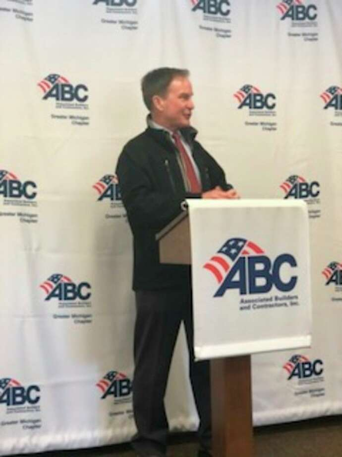 Michigan Attorney General Bill Schuette speaks during a visit to the Associated Builder and Contractors-Greater Michigan Chapter on Thursday. (Photo provided)