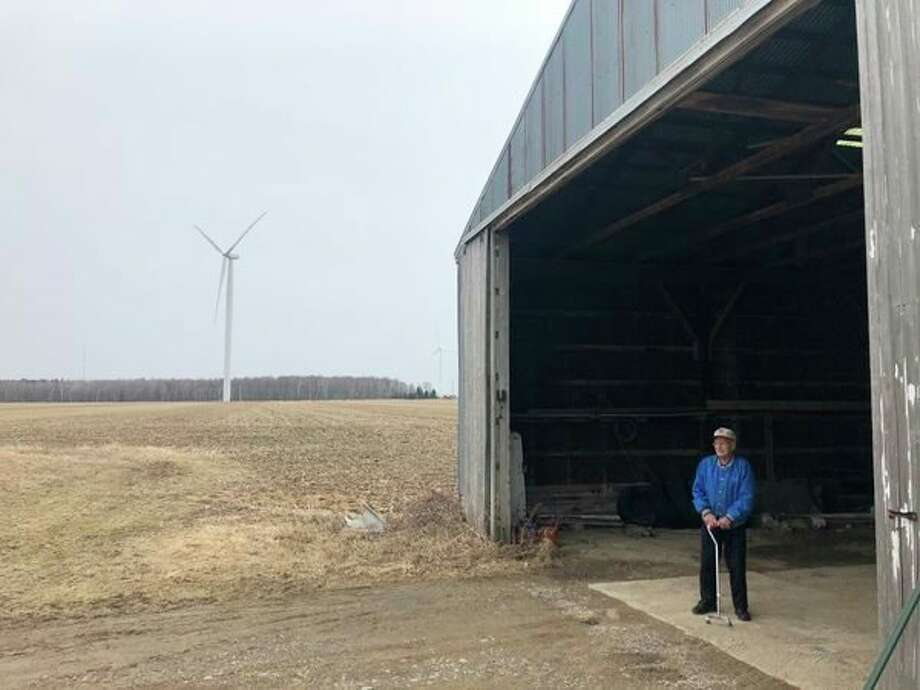 Chet Leppek stands inside a pole barn he built on his former farm in Huron County. (Rob Clark/Michigan Sugar)