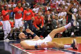 Center Marcin Gortat and the Wizards were knocked down in the first two games of the first-round playoff series against the Raptors, but they fought back to win Game 3, 122-103, at home Friday.