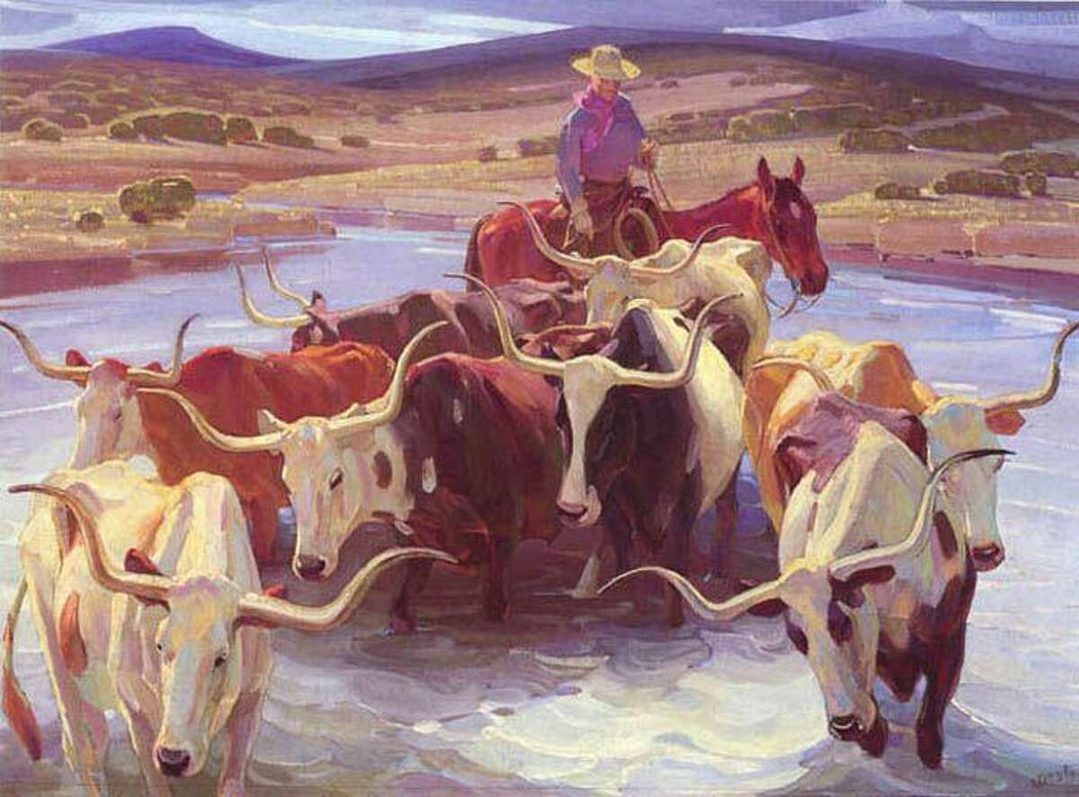 """""""Old Texas"""" by W. Herbert Dunton, part of the Edgar B. Davis Collection at the San Antonio Art League & Museum. The Davis Collection will be featured in a Tricentennial exhibit called """"A Wildcatter's Dream: Oil, Art and Wildflowers"""" opening the weekend of June 8-10."""