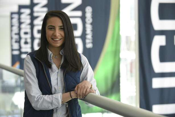 Salma Almidani of Milford, who immigrated from a Syria as a teen with her family, talks about how her life has changed over the years in an interview at UConn Stamford on April 18, 2018. Almidani is set to graduate with a double major in biology and psychology and is planning continue her education in a master's program at Yale.