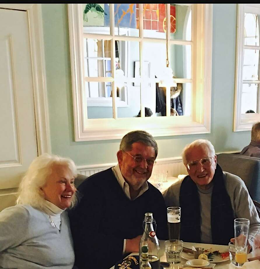 "Greenwich resident and Democratic candidate for governor Guy Smith and his wife Marjorie meet Greenwich resident/artist Joe ""Butch"" DeLuca at Elm Street Oyster House in Greenwich. Photo: Contributed /"