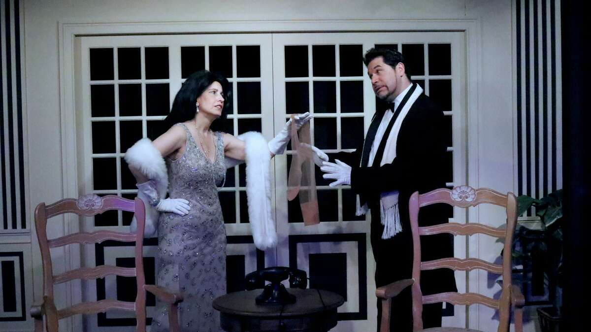 Deborah Burke and Miguel Acevedo rehearse for Curtain Call's farce,