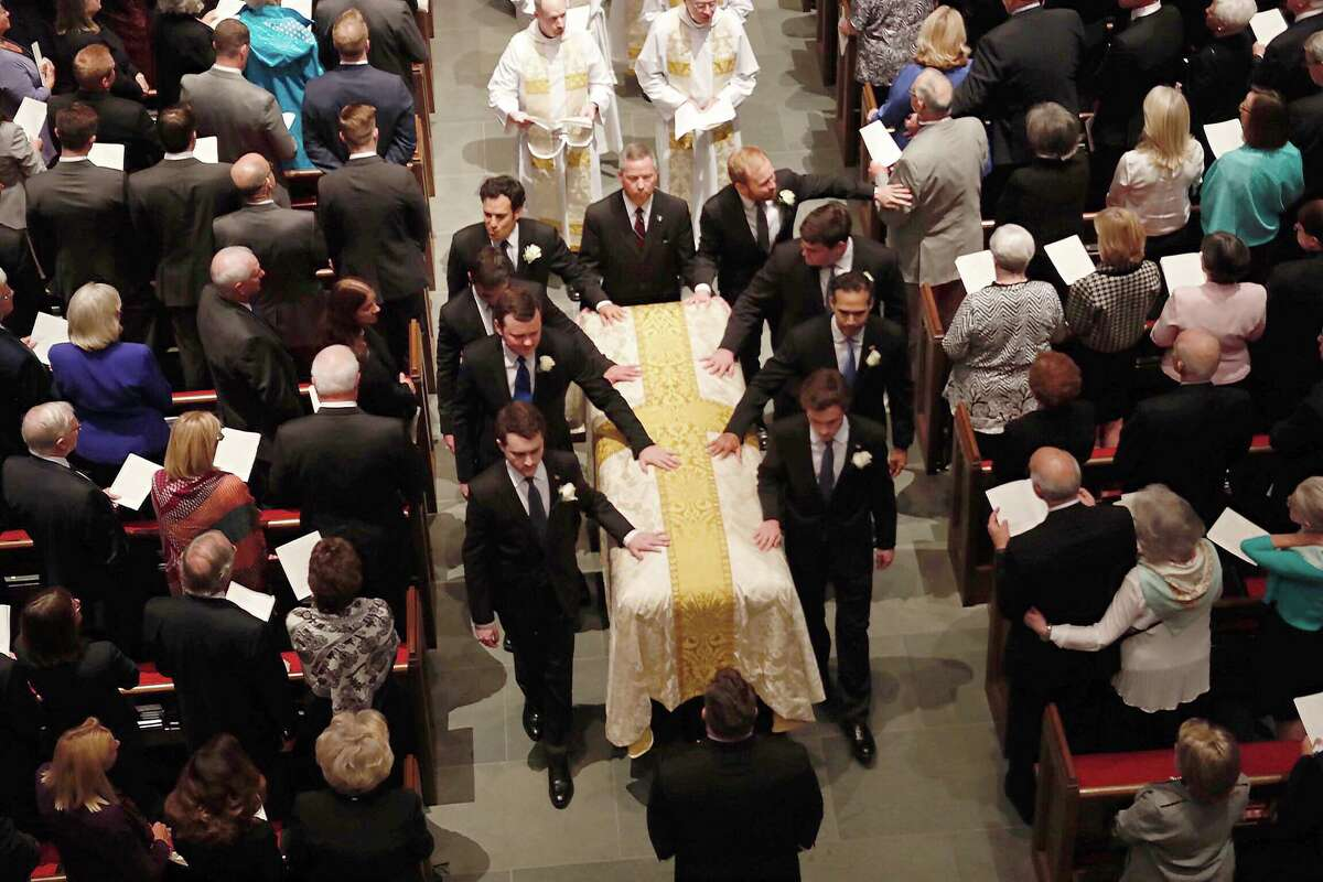 The recessional during the funeral for former First Lady Barbara Bush at St. Martin's Episcopal Church on Saturday, April 21, 2018, in Houston.