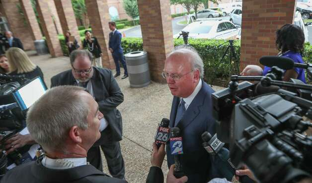 Former White House Deputy Chief of Staff Karl Rove speaks to the media at Second Baptist Church campus to attend Former First Lady Barbara Bush's funeral  Saturday, April 21, 2018, in Houston. Photo: Steve Gonzales, Houston Chronicle / © 2018 Houston Chronicle