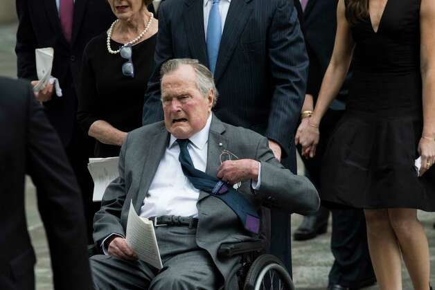 President George H. W. Bush accompanied by his family follow the casket of former first lady Barbara Bush at the St. Martin's Episcopal Church, Saturday, April 21, 2018, in Houston. Photo: Marie D. De Jesus, Houston Chronicle / © 2018 Houston Chronicle