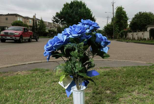 Blue flowers on the median of Westcott Street where the motorcade carrying former first lady Barbara Pierce Bush is scheduled to pass by on  Saturday, April 21, 2018, in Houston. Photo: Elizabeth Conley, Houston Chronicle / © 2018 Houston Chronicle
