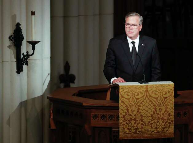 Jeb Bush speaks during the funeral for his mother, former first lady Barbara Bush at St. Martin's Episcopal Church on Saturday, April 21, 2018, in Houston. Photo: Brett Coomer, Houston Chronicle / © 2018 Houston Chronicle