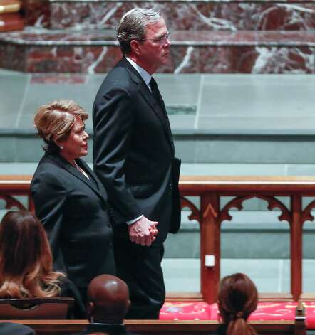Jeb Bush and his wife, Columba, arrive to the funeral for his mother, former First Lady Barbara Bush, at St. Martin's Episcopal Church on Saturday, April 21, 2018, in Houston. Photo: Brett Coomer, Houston Chronicle / © 2018 Houston Chronicle