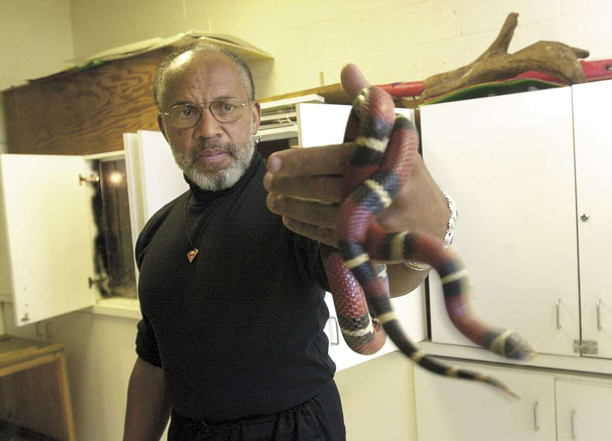 Greenwich, April 6, 2001. Jim Arden, natural history teacher at Greenwich Country Day with one of his beloved snakes. This one is a Hondruan Milk Snake. Photo/Helen Neafsey color.