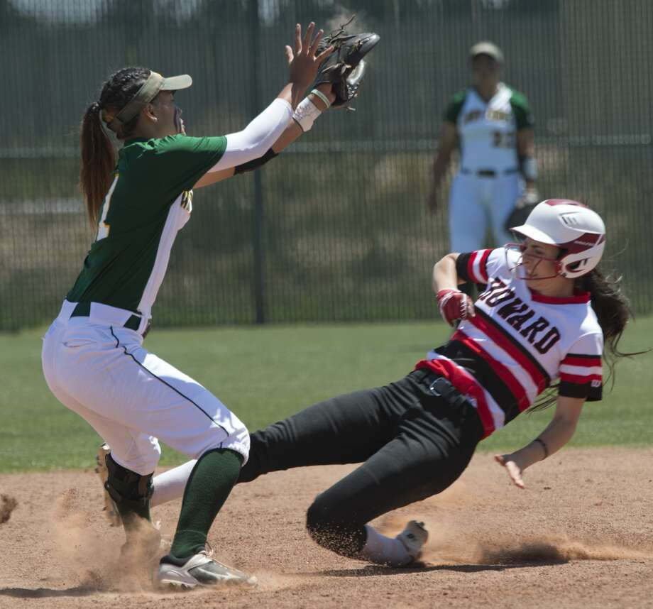 Howard College's Mackenzie Mitchiner safely steals second as Midland College's Shaycelynn Ho'ohuli can't make the tag in time 04/21/18 at MC softball field. Tim Fischer/Reporter-Telegram Photo: Tim Fischer/Midland Reporter-Telegram