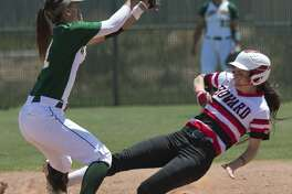 Howard College's Mackenzie Mitchiner safely steals second as Midland College's Shaycelynn Ho'ohuli can't make the tag in time 04/21/18 at MC softball field. Tim Fischer/Reporter-Telegram