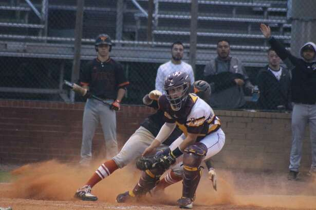 Deer Park catcher Tyler Weir completes the forceout, preventing Dobie from building on a 5-1 lead in the second frame. Plays like this enabled Deer Park to eventually snag a 7-5 win.