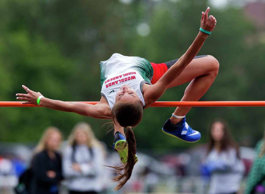 Autumn Goodrum competes in the girls high jump during the Region II-6A area track meet, Friday, April 19, 2018, in The Woodlands. Photo: Jason Fochtman, Staff Photographer / © 2018 Houston Chronicle