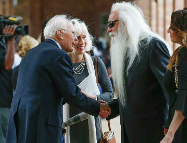 The Oak Ridge Boys band member William Lee Golden (right) greets other mourner after returning to the Second Baptist Church campus after attending Former First Lady Barbara Bush's funeral  Saturday, April 21, 2018, in Houston. Photo: Steve Gonzales, Houston Chronicle / © 2018 Houston Chronicle