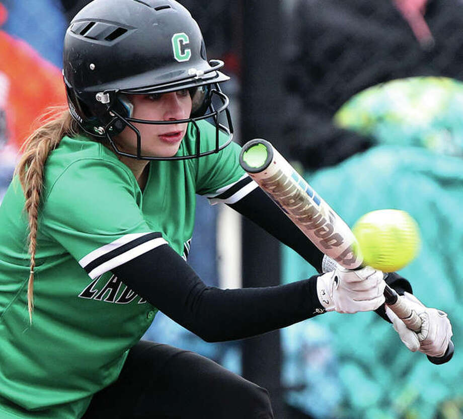 Carrollton's Kennedy Ruyle, shown bunting in a game earlier this season, had two doubles and three RBIs Friday in the Hawks' loss to the Jersey Panthers in Carrollton. Photo:       Dennis Mathes / Hearst Newspapers