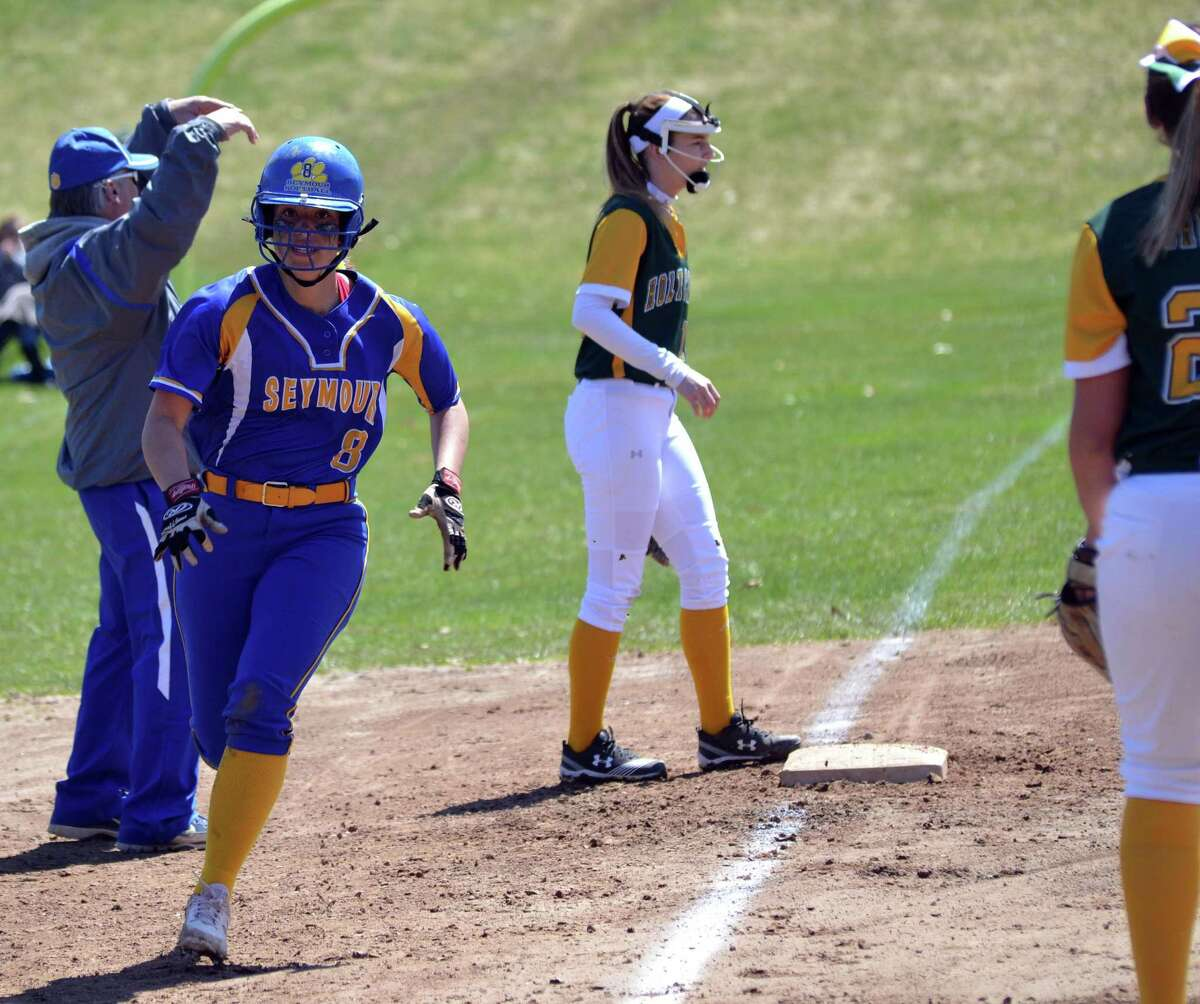 Seymour's Beca Findley rounds third and heads towards home against Holy Cross on Saturday, April 21, 2018. (Pete Paguaga, Hearst Media Company).