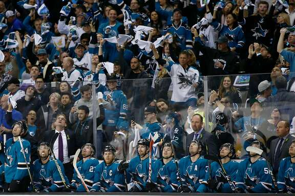 San Jose Sharks head coach Peter DeBoer is photographed with the bench during a break in the action against Anaheim Ducks in the first period of Game 4 of an NHL third round playoff series on Wednesday, April 18, 2018 at the SAP Center in San Jose, California.