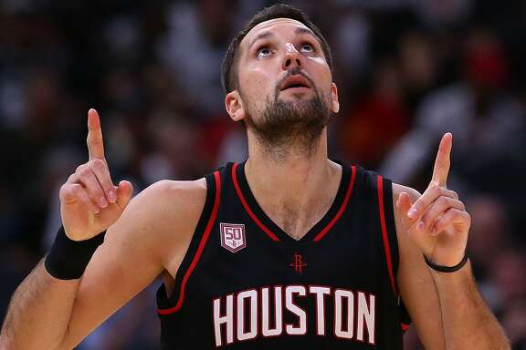SAN ANTONIO, TX - MAY 03:  Ryan Anderson #3 of the Houston Rockets reacts against the San Antonio Spurs during Game Two of the NBA Western Conference Semi-Finals at AT&T Center on May 3, 2017 in San Antonio, Texas.  NOTE TO USER: User expressly acknowledges and agrees that, by downloading and or using this photograph, User is consenting to the terms and conditions of the Getty Images License Agreement.  (Photo by Ronald Martinez/Getty Images)