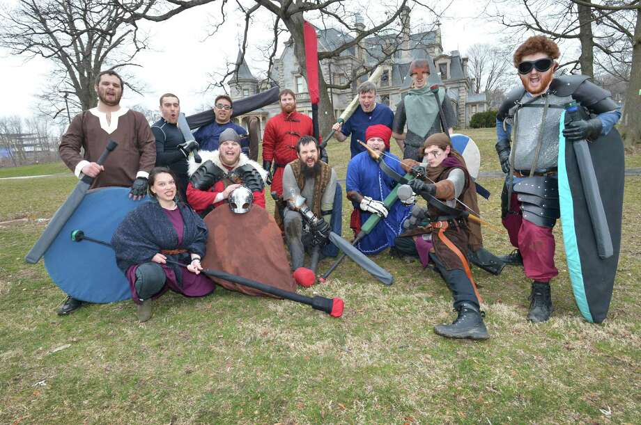 Myrmidon Dagorhir of Norwalk pose as a group during their weekly battle session at Mathews Park on Thursday March 29, 2018 in Norwalk Conn..  Myrmidon is the Norwalk chapter of Dagorhir Battle Games Association and is full contact medieval style combat with padded weapons. The group competes in period costume with other chapters nationwide. Photo: Alex Von Kleydorff / Hearst Connecticut Media / Norwalk Hour