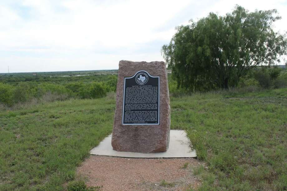 """This historical marker, which commemorates the """"Battle"""" of Adams Hill, stands at its previous location off the beaten track on Montgomery Road near U.S. 90 on the way to Castroville. It was removed for relocation at a future date. The """"battle"""" wasn't actually a fight with weapons but rather a verbal confrontation between U.S. and Texas Confederate forces that occurred about 15 miles west of downtown San Antonio on May 9, 1861. Photo: Courtesy / Martin Callahan /"""