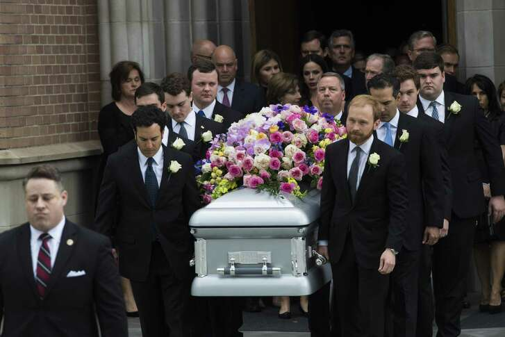 The Bush family exits the St. Martin's Episcopal Church behind the casket carrying their mother former first lady Barbara Bush, Saturday, April 21, 2018, in Houston. ( Marie D. De Jesus / Houston Chronicle )