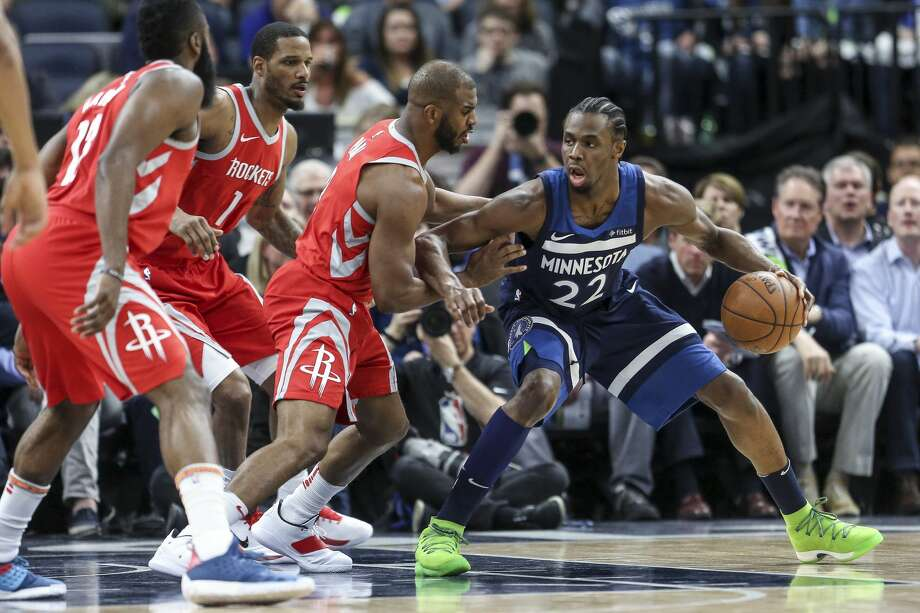 Houston Rockets guard Chris Paul (3) defends Minnesota Timberwolves forward Andrew Wiggins (22) as the Houston Rockets take on the Minnesota Timberwolves in Game 3 of the first round of the NBA Playoffs at Target Center Saturday, April 21, 2018 in Minneapolis. (Michael Ciaglo / Houston Chronicle) Photo: Michael Ciaglo/Houston Chronicle