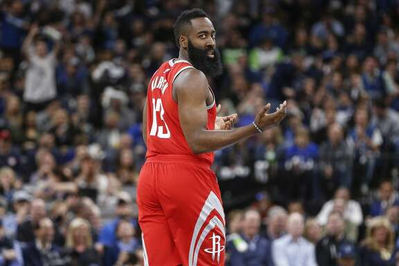 Houston Rockets guard James Harden (13) reacts to a foul call on the Rockets as they take on the Minnesota Timberwolves in Game 3 of the first round of the NBA Playoffs at Target Center Saturday, April 21, 2018 in Minneapolis. (Michael Ciaglo / Houston Chronicle)