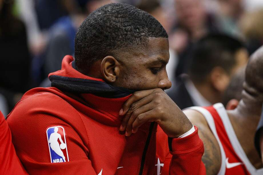 Houston Rockets guard Joe Johnson (7) reacts as the Rockets fall behind in the first half as they take on the Minnesota Timberwolves in Game 3 of the first round of the NBA Playoffs at Target Center Saturday, April 21, 2018 in Minneapolis. (Michael Ciaglo / Houston Chronicle) Photo: Michael Ciaglo/Houston Chronicle