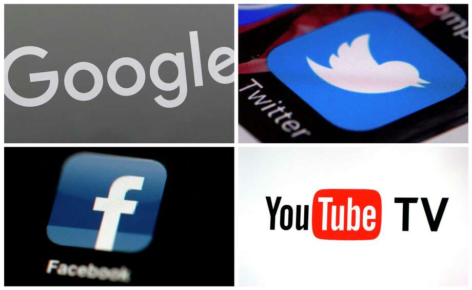 This photo combo of images shows, clockwise, from upper left: a Google sign, the Twitter app, YouTube TV logo and the Facebook app. Facebook has taken the lion's share of scrutiny from Congress and the media for its data-handling practices that allow savvy marketers and political agents to target specific audiences, but it's far from alone. YouTube, Google and Twitter also have giant platforms awash in more videos, posts and pages than any set of human eyes could ever check. Their methods of serving ads against this sea of content may come under the microscope next.  (AP Photo) / Copyright 2018 The Associated Press. All rights reserved.