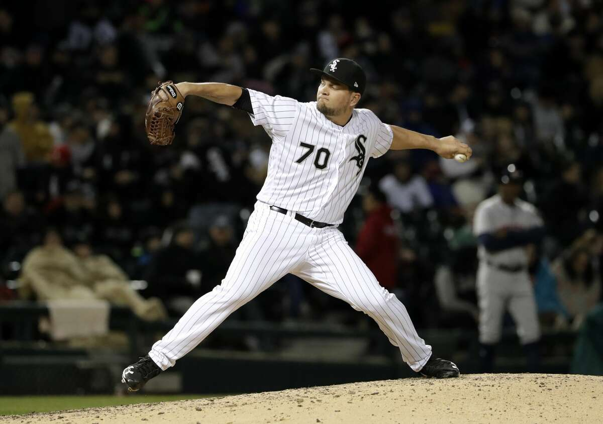 Chicago White Sox relief pitcher Luis Avilan throws against the Houston Astros during the sixth inning of a baseball game Saturday, April 21, 2018, in Chicago. (AP Photo/Nam Y. Huh)