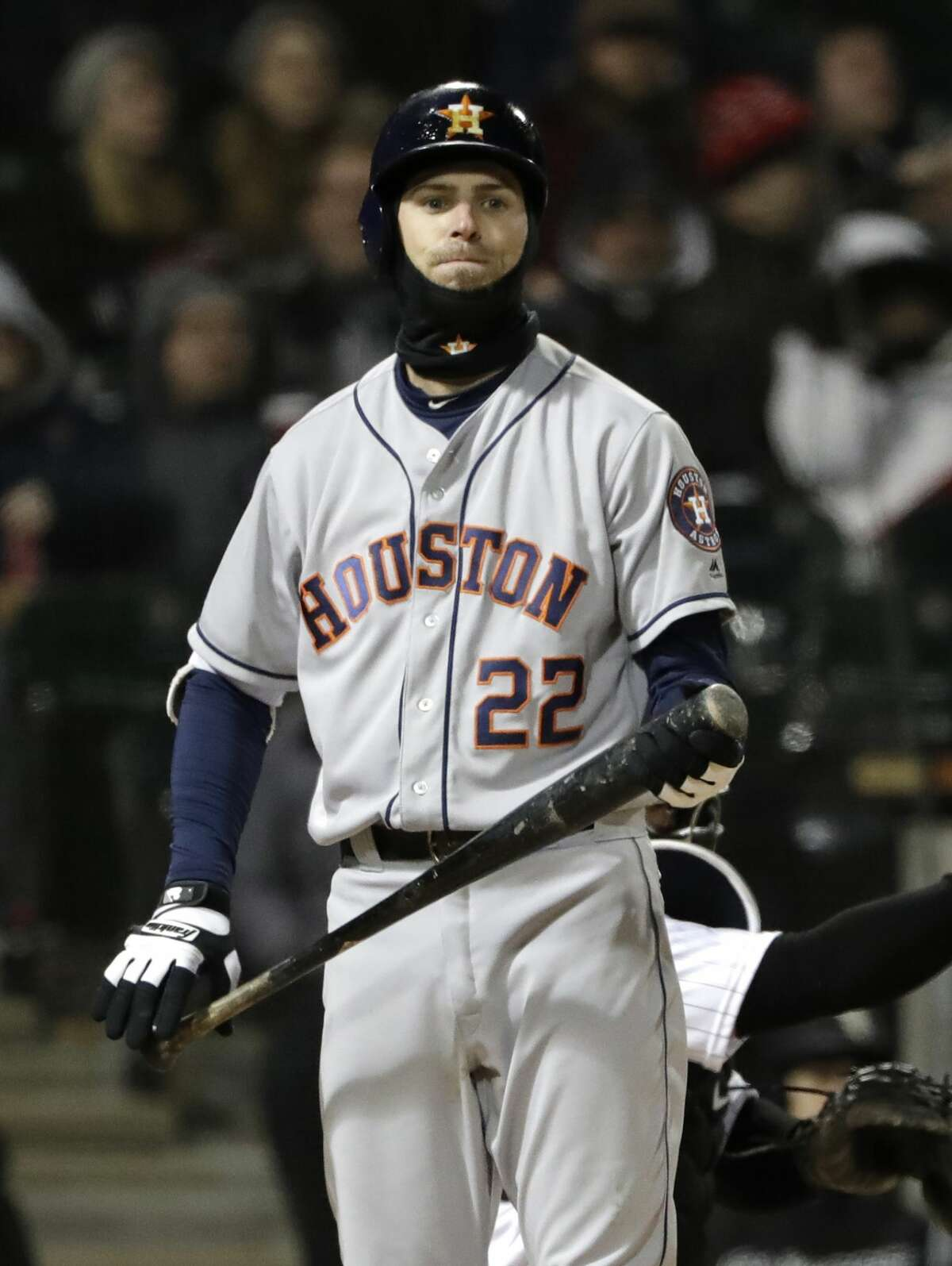 Houston Astros' Josh Reddick reacts after being called out on strikes during the sixth inning of a baseball game against the Chicago White Sox, Saturday, April 21, 2018, in Chicago. (AP Photo/Nam Y. Huh)