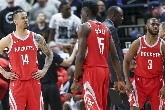 Houston Rockets guard Gerald Green (14) reacts after a foul call as the Houston Rockets lose to the Minnesota Timberwolves 121-105 in Game 3 of the first round of the NBA Playoffs at Target Center Saturday, April 21, 2018 in Minneapolis. (Michael Ciaglo / Houston Chronicle)