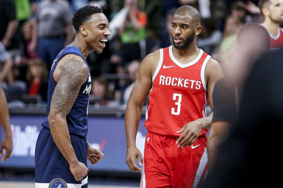 Unlike Jeff Teague and the Timberwolves, Game 3 wasn't much of a laughing matter for Chris Paul and the Rockets. Photo: Michael Ciaglo/Houston Chronicle