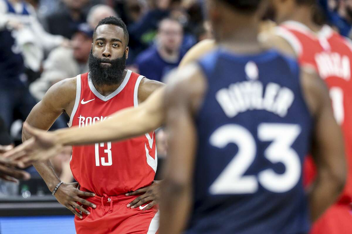 Houston Rockets guard James Harden (13) reacts after a Minnesota Timberwolves free throw as the Houston Rockets lose to the Minnesota Timberwolves 121-105 in Game 3 of the first round of the NBA Playoffs at Target Center Saturday, April 21, 2018 in Minneapolis. (Michael Ciaglo / Houston Chronicle)