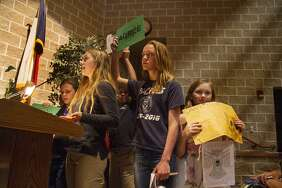 Students from Hill Country Montissori School speak in opposition of a concrete batch plant by Vulcan Materials at a public hearing held by the Texas Commission on Environmental Quality, Thursday, April 19, 2018 at Boerne Middle School North.