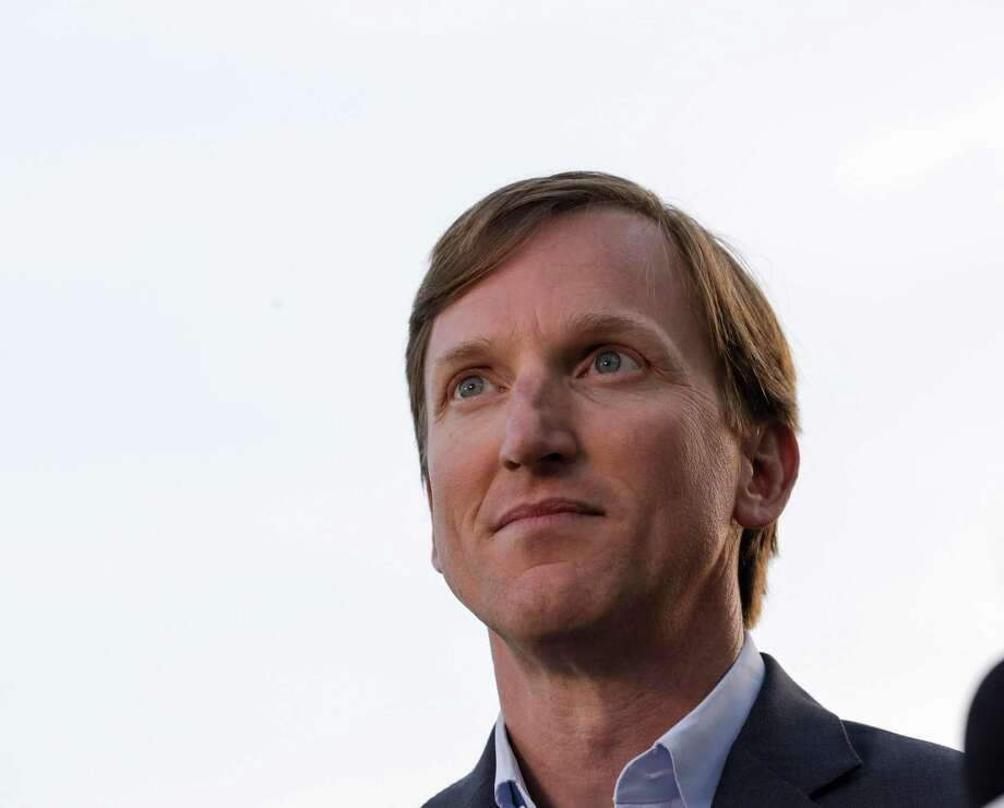 Andrew White, a democratic candidate for governor, waits to talk to a television reporter before an election watch party at Raven Tower, Tuesday, March 6, 2018, in Houston.  ( Jon Shapley / Houston Chronicle ) Photo: Jon Shapley, Houston Chronicle / Houston Chronicle / © 2018 Houston Chronicle
